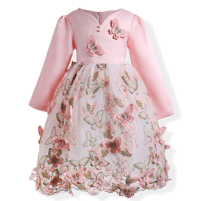 Spring Autumn Toddler Girls Dress for Children Flower Teenagers Kids Princess Clothing Gorgeous Birthday Wedding Party Costume girls autumn winter princess costume wedding dress child kids clothing purple mesh lace flower
