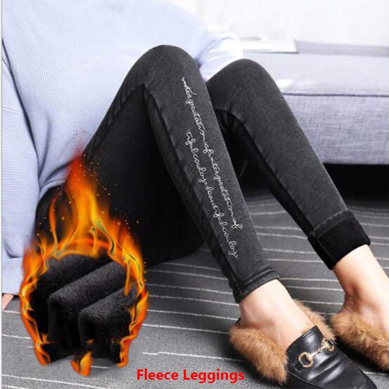 Plus Size Warm Winter Fleece   Leggings   Women Black High Waist Thick Velvet Letter Skinny Pencil Pants Woman Fake Jeans Tassel