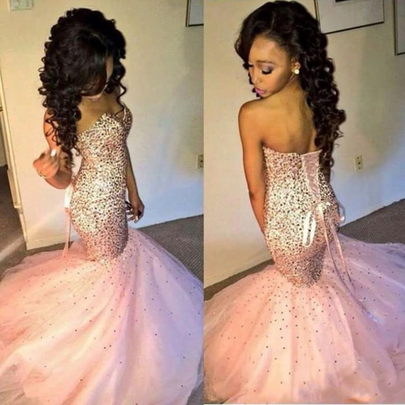 Luxury Beading Tulle Mermaid Prom Gowns Sexy Pink Sweetheart Corset Back Evening Gown Women Formal Party