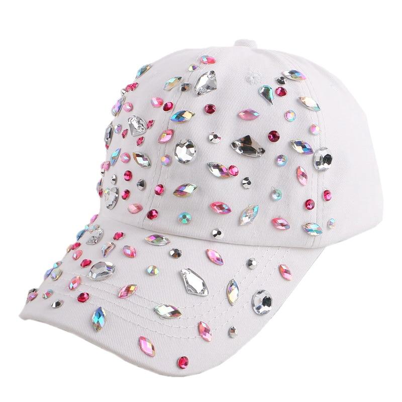 wholesale women girl luxury cap irregular rhinestone crystal cotton novelty snapback woman outdoor casual beauty baseball cap