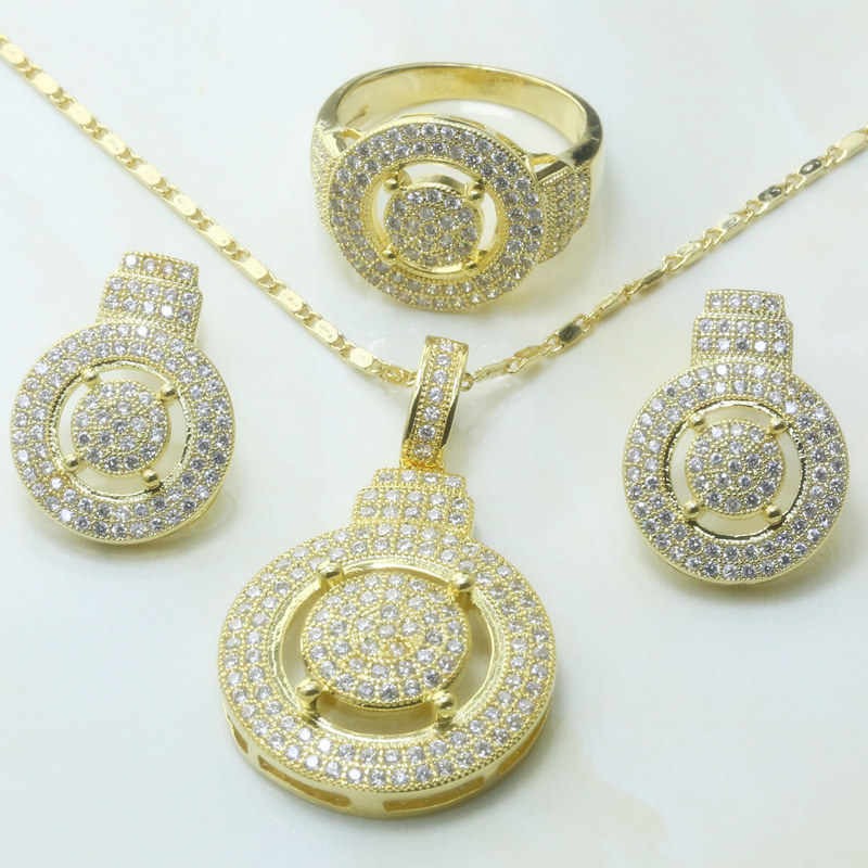 Otogo Transing  Trendy Crystal Gold Color  Tray White Zircon Jewelry Set Ring Earrings Pendant Necklace Set-S273