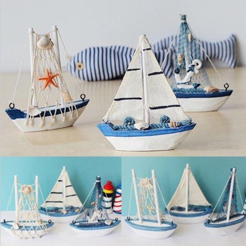 Sailboat Home Decor: 1pc Mini Sailing Boat Model Vogue Nautical Home Decoration