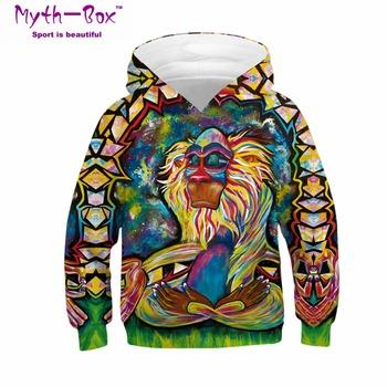 Dzieci sportowe bluzy z kapturem małpa 3D drukuj dzieci luźne bluzy Junior dziecko topy dziecko sweter 4-13y chłopiec dziewczyna z kapturem sweter tanie i dobre opinie Myth-box Pasuje prawda na wymiar weź swój normalny rozmiar CN (pochodzenie) TZ-082 Pełna Dzianiny Poliester Szybkie suche