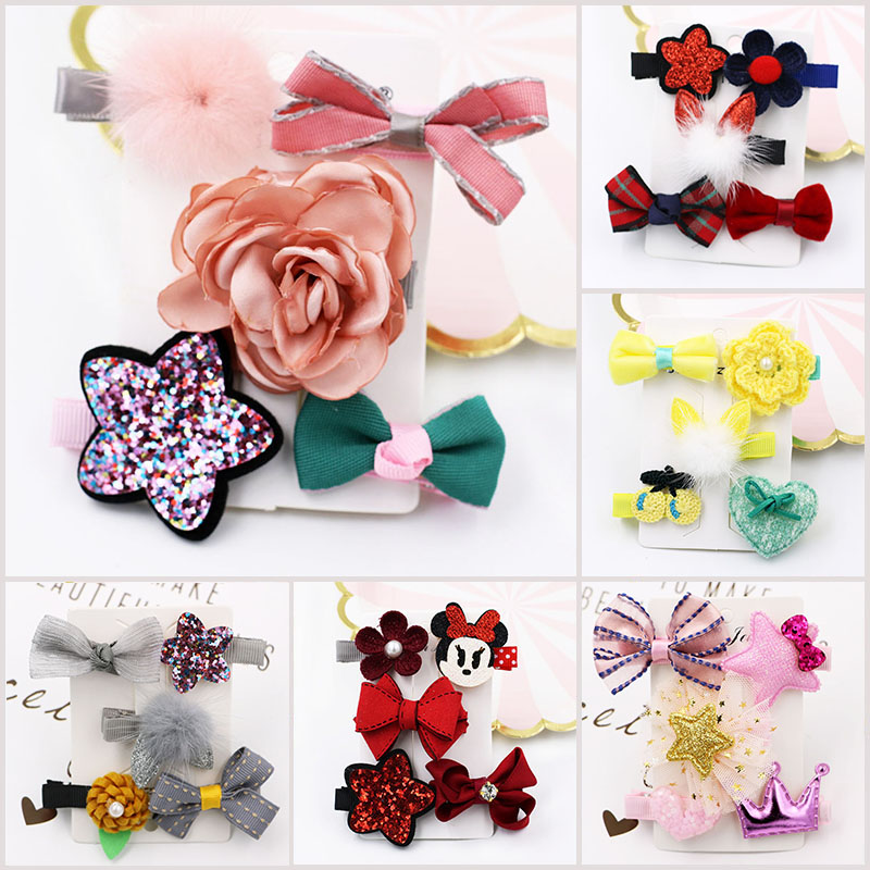 5pcs/lot Hair Clips for Girls Beauty Cute Cartoon Hairpins for Kids Micky Crown Stars Princess Flowers Bowknot Hair Accessories 6pcs lot kids glitter color hair snap clip kids stars headwear five pointed stars hairpins hair accessories