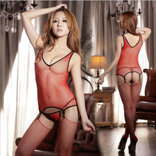 Sexy Lace Temptation Perspective Three-piece Hollow Out Transparent Costume Siamese Netting Women Sex Products