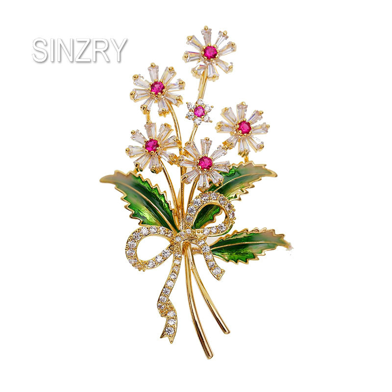 SINZRY Hotsale Cubic Zirconia Micro Paved Flower Brooch Pin Lady Creative Trendy Dresssing Brooches Costume Jewelry Gift