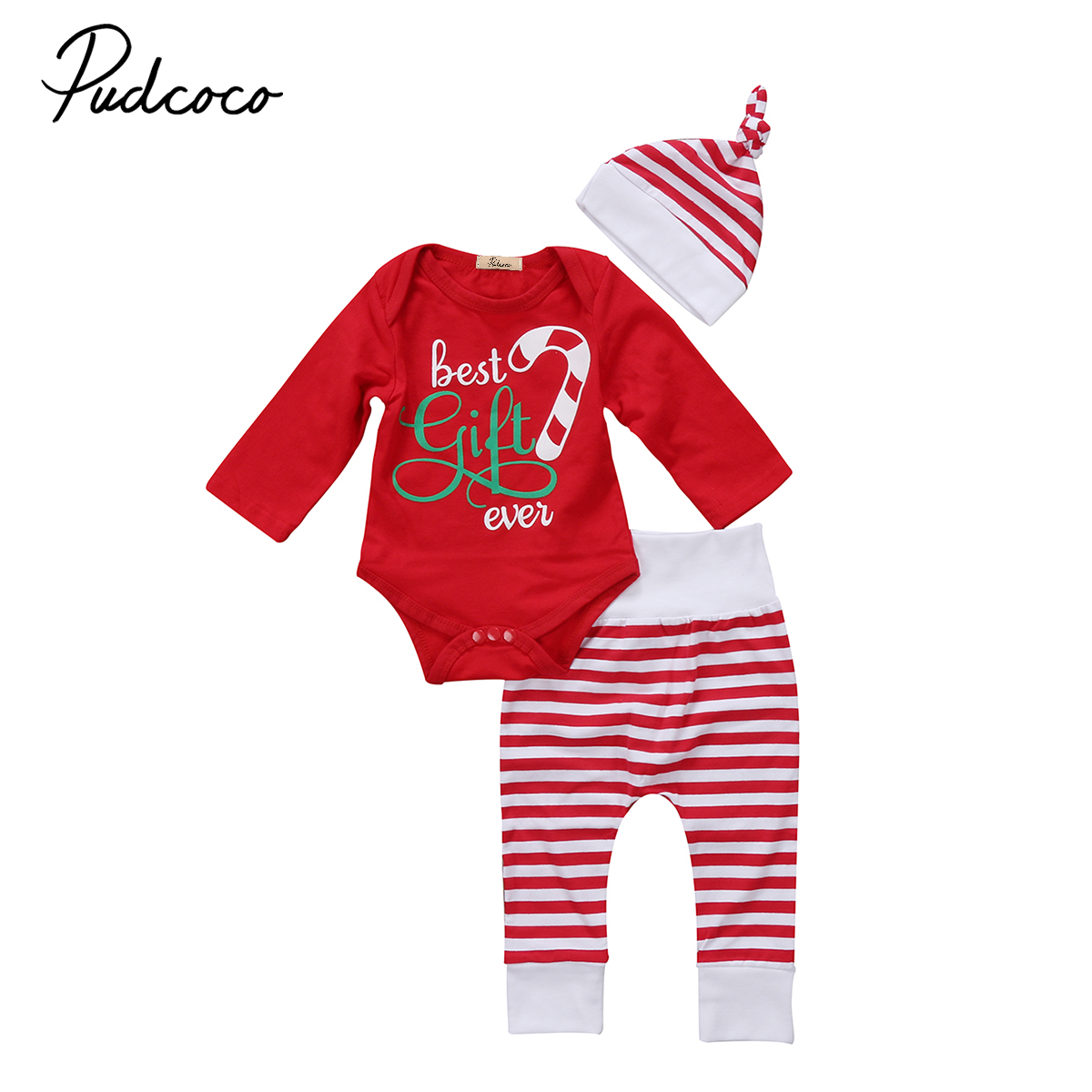 Newborn Baby Girls Boys Christmas Clothes Set Long Sleeve Romper Tops Striped Pants Hat  ...