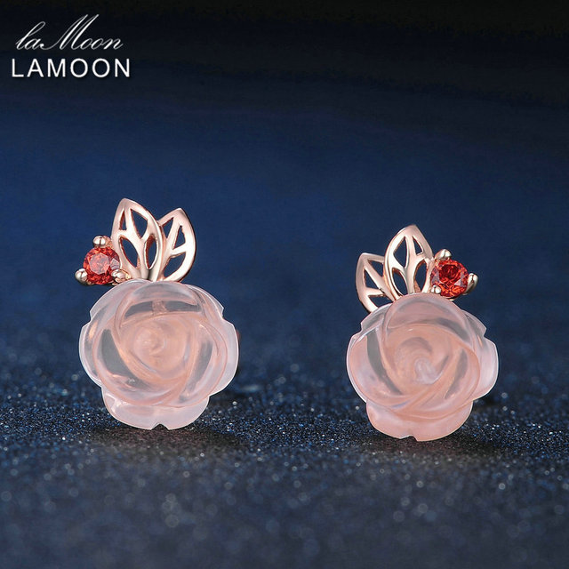 LAMOON 9mm Rose Flower Natural Pink Rose Quartz made with 925 Sterling Silver Jewelry  Stud Earrings LMEI015