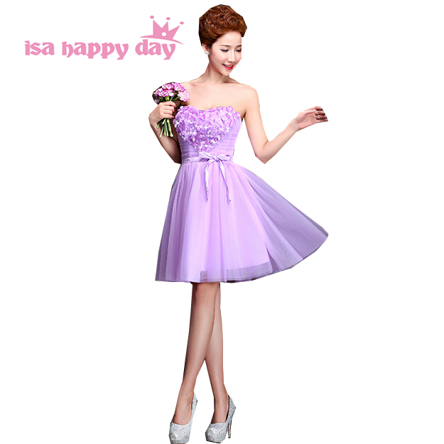 2019 classy short elegant sleeveless strapless lilac light purple   cocktail   pageant special occasion   dresses   teens gowns H3125