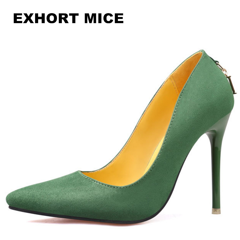 2017 Women Pumps Sexy  High Heels Shoes Fashion Pointed Toe Wedding Shallow mouth pointed Green Classics 11 cm letter high quality women shoes colorful rhinestone shallow mouth high heels mature women pumps round toe slip on party wedding shoes