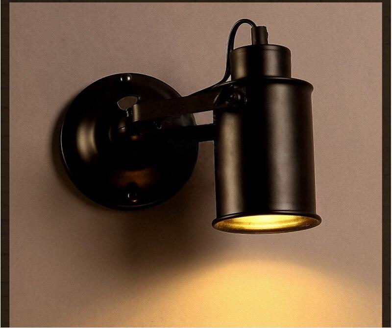 ФОТО LOFT Wall Lamp Black Metal adjustable Head E27 Bedside Reading Lamp Retro Wall Sconce Stair Light High Quality WWL004