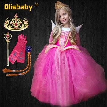 894049f12b6 Хэллоуин дети костюм «Спящая красавица» фантазии Авроры для девочек платье  принцессы Детские Тюль с длинным рукавом Золушка пышные платья