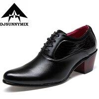 DJSUNNYMIX Luxury Men Formal Shoes PU Leather Men Wedding Shoe High Heels 6 0cm