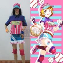 Anime Love Live Koizumi Hanayo Rosa Paño Uniforme de Béisbol Para Adultos Mujeres Del Partido Cosplay Traje de Halloween Navidad
