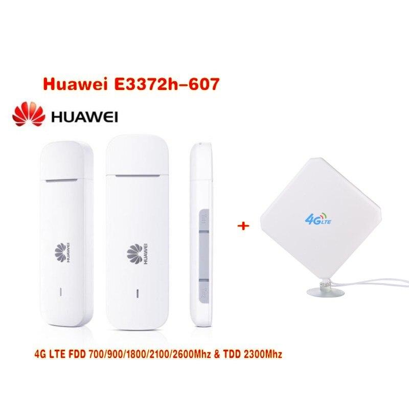 Déverrouillage d'origine HUAWEI E3372 E3372h-607 150 Mbps 4G LTE Mode USB + connecteur CRC9 35DBI 4G antenne externe BOOSTER SIGNAL antenne