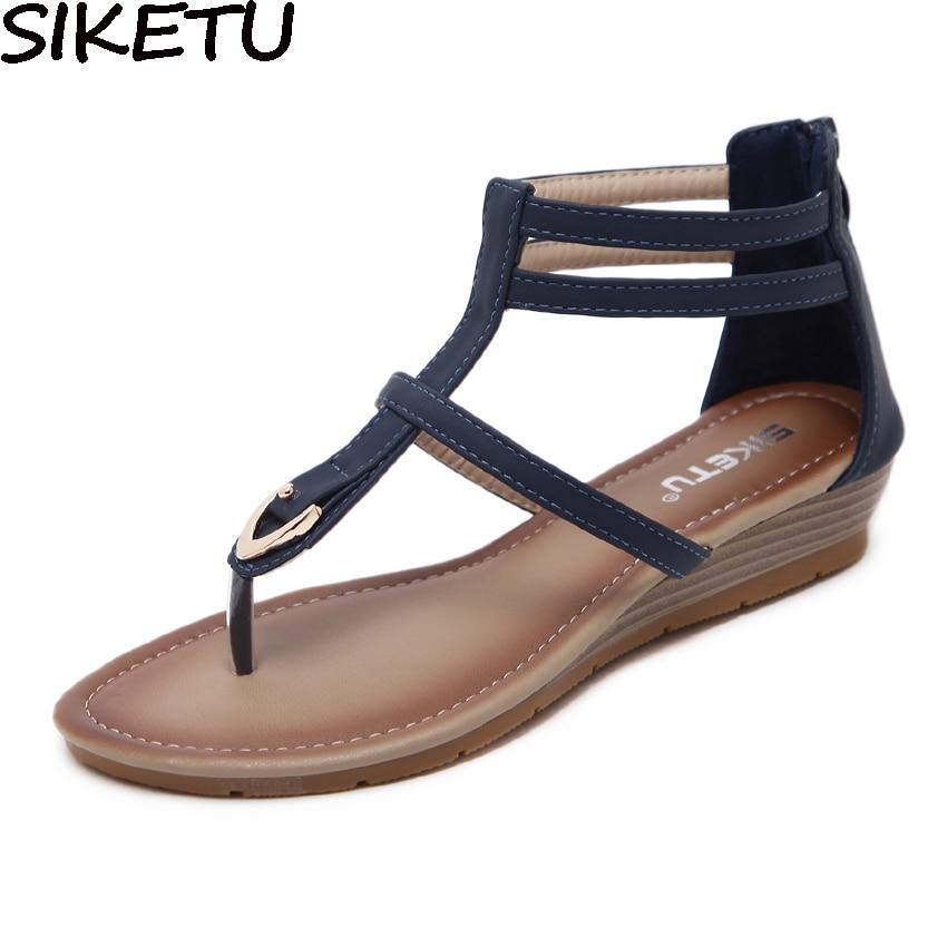 Siketu Comfort Vrouwen Boho Bohemen Etnische Sandalen Metallic Gladiator Sandalen Gothic Slippers Enkelband Wedge Schoenen Lage Hakken Uitstekende Kwaliteit