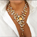2017 Newest Champagne Color Crystal Choker Necklace Bijoux Gothic Fashion Collier Femme Necklace for Women Gold Choker YN1867