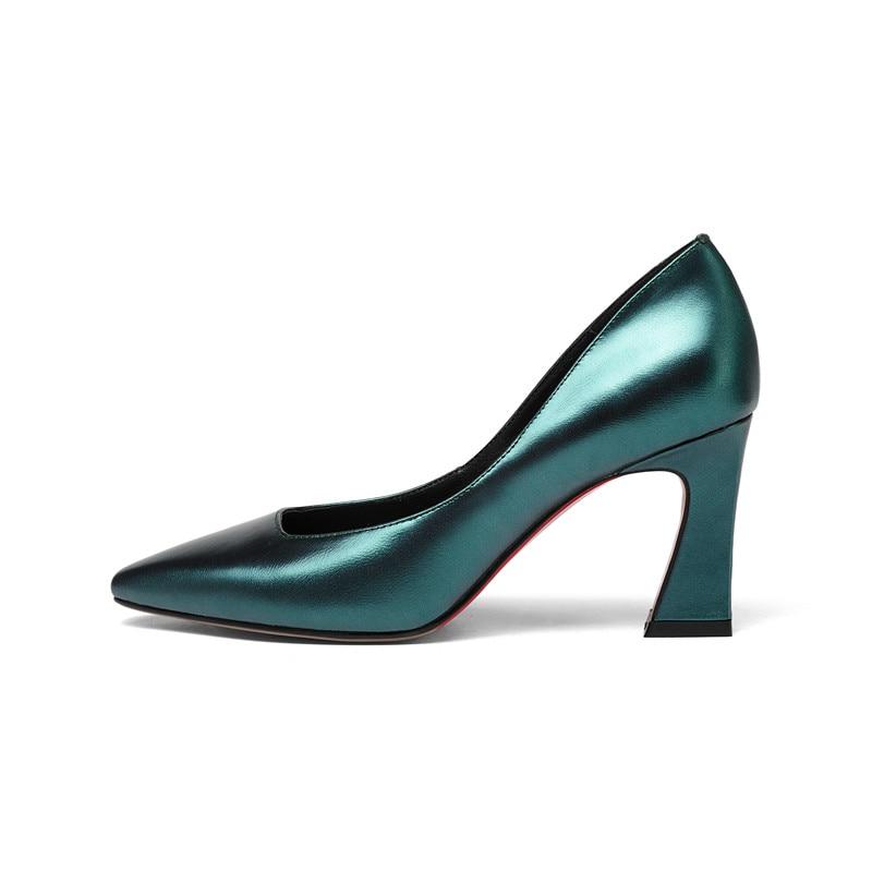 MLJUESE 2018 frauen pumpt Echtes leder spitz chaussures femme beleg auf herbst frühling high heels-in Damenpumps aus Schuhe bei  Gruppe 3