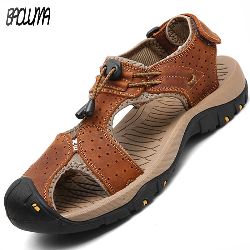 все цены на Hot Sale New Fashion Summer Leisure Beach Men Shoes High Quality Leather Sandals The Big Yards Men's Sandals Size 38-47 онлайн