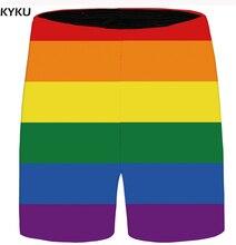 KYKU Brand Rainbow Shorts Men Colorful Beach Casual Lattice Beautiful Cargo Anime Mens Short Pants 2018 New Summer