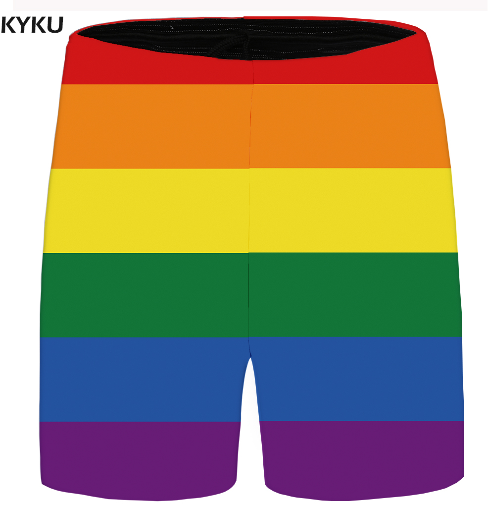 KYKU Brand Rainbow Shorts Men Colorful Beach Shorts Casual Lattice Beautiful Cargo Anime Mens Short Pants 2018 New Summer