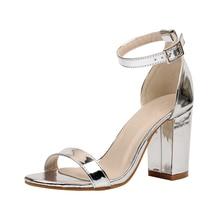 Été Sexy Femmes Sandales Casual Chaussures Femme Simple En Cuir Verni Cheville Sangle Bloc À Talons Hauts Pompes Robe Chaussures De Mariage Argent