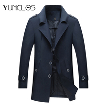 YUNCLOS New Arrival Men's Trench Coat Autumn Winter Long Coat Single-breasted Windproof Slim Fit Trench Coat For Men Plus Size