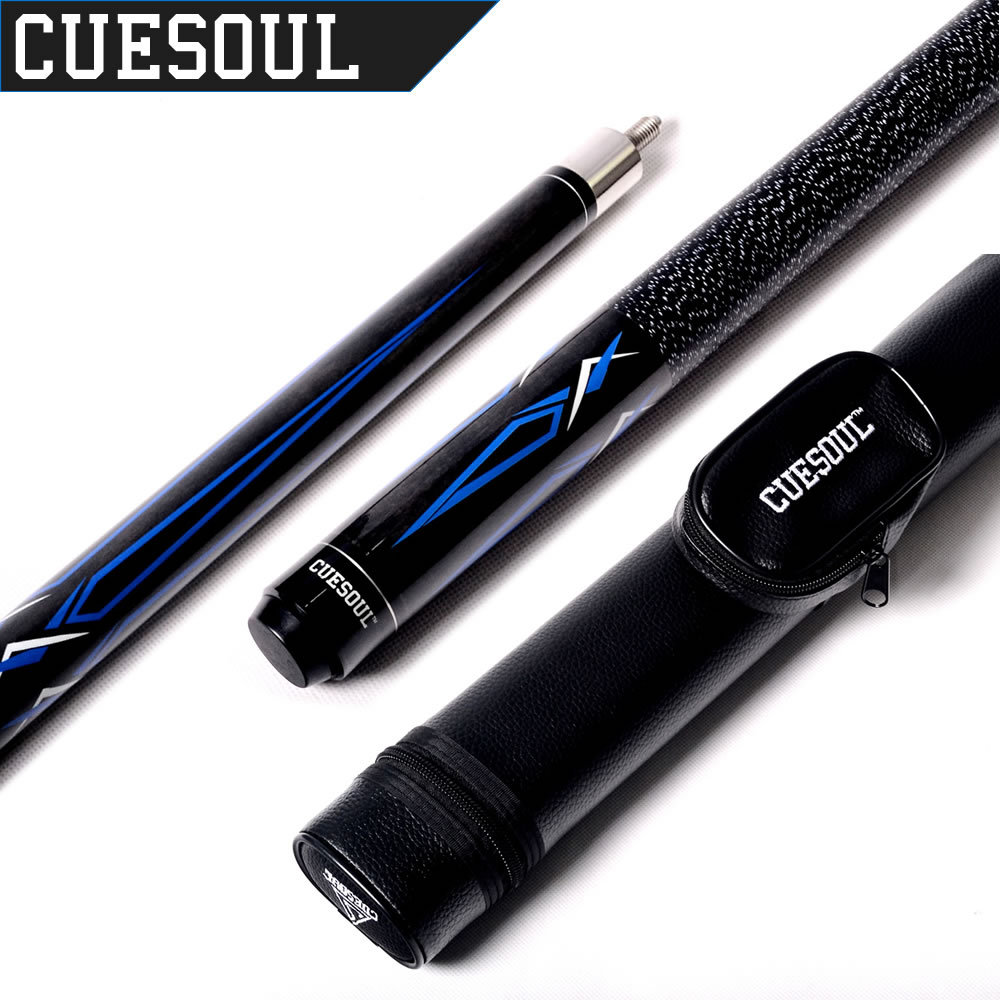 CUESOUL E102+CASE 1/2 Jointed Maple Pool Cue Stick With 1 Butt and 1 Shaft Billiard Cue Tube Case