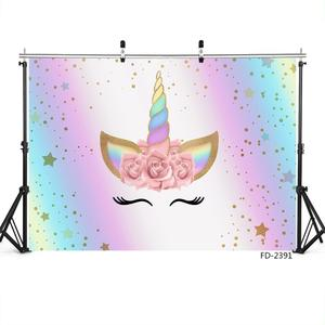 Image 3 - Unicorn Star Flower Photographic Backgrounds Vinyl Cloth Photo Shootings Backdrops  for Baby Birthday Party Photo Studio