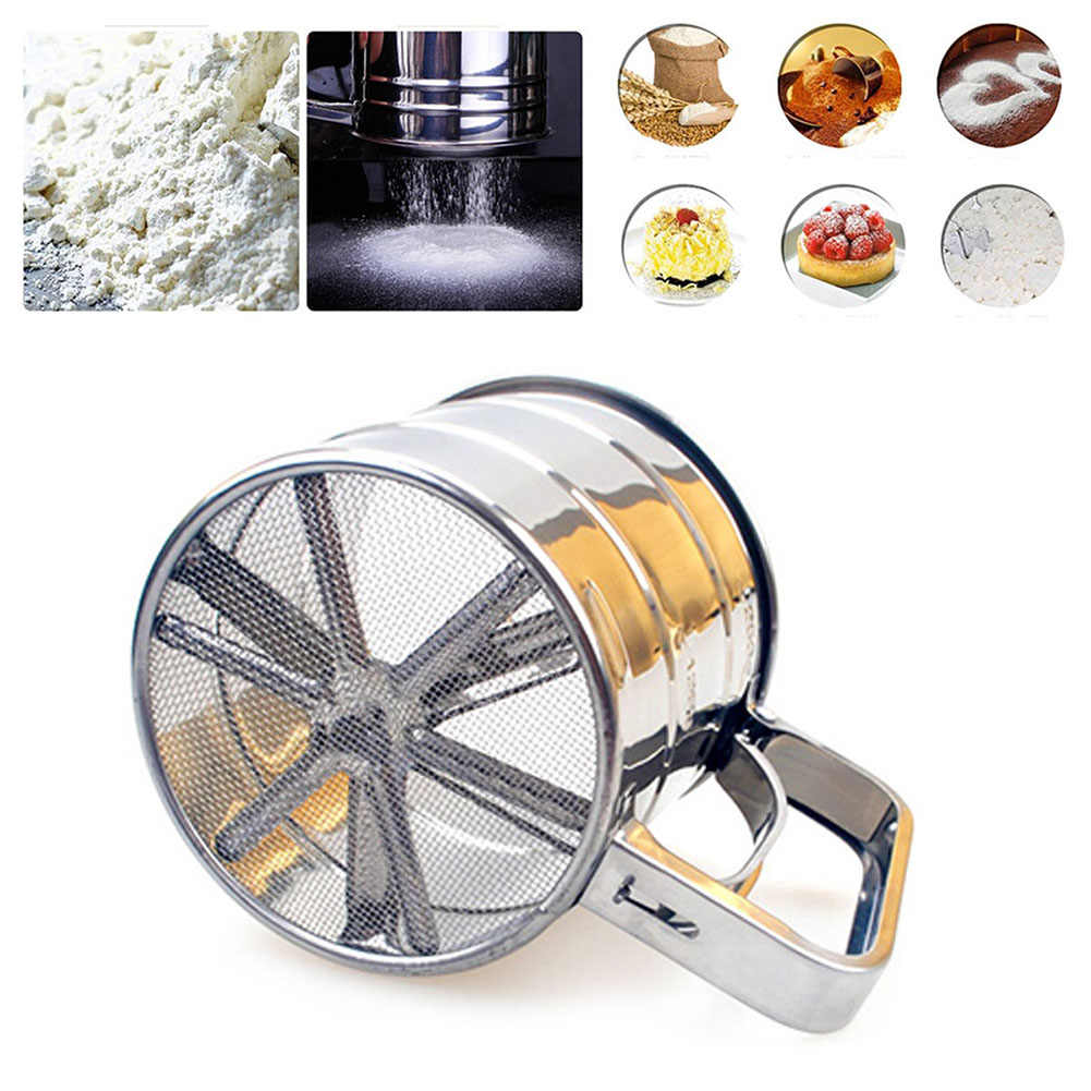 Stainless Steel Sieve Cup Mesh Crank Flour Sifter with Measuring Scale for Flour Icing Sugar Baking Tools Pastry Tools Cup