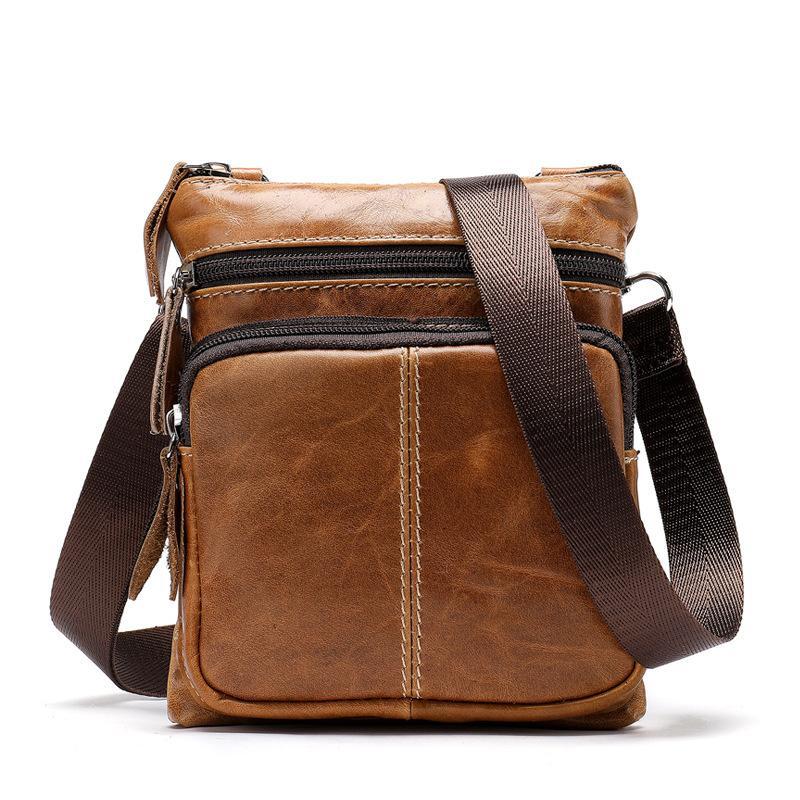 Hot Vintage Business Men Messenger Bag Genuine Leather Men's Bag Cowhide  Leisure Single-shoulder Cross-body Zipper Small Bag