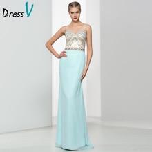 Dressv Elegant Long Prom Dress 2016 Sexy Sweetheart Sheath/Column Criss-Cross Straps Chiffon Beads Formal Gowns Prom Dress