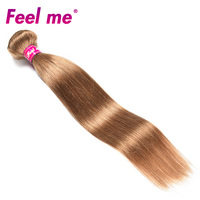 Feel Me Indian Straight Hair Bundles Human Hair Weave 1 Bundle Ombre Hair #27 Blonde Hair Pre Colored Non remy