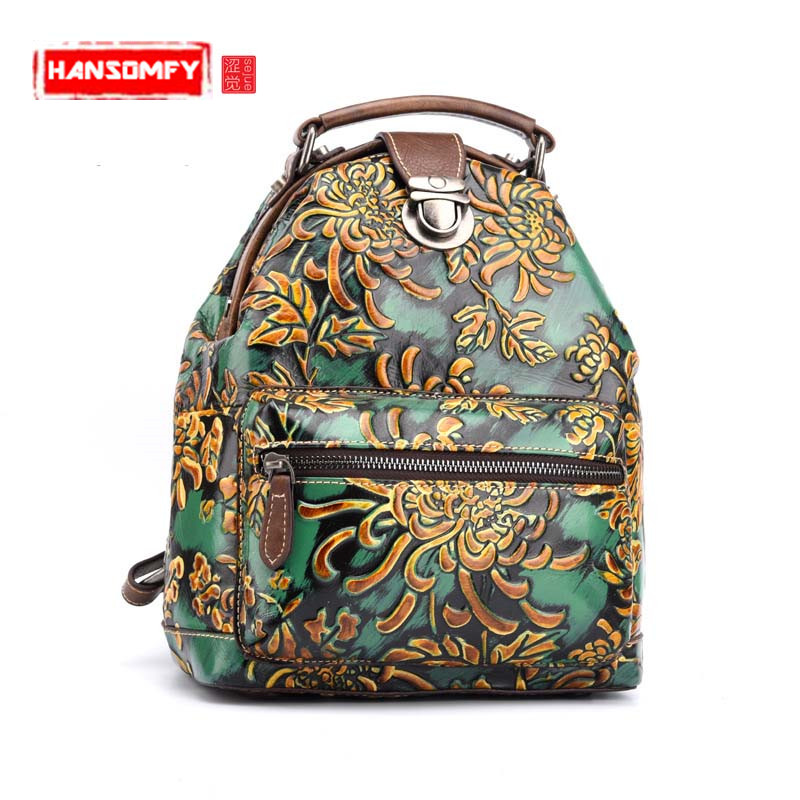 2018 New Women Floral Printing Backpack Genuine Leather Female Bags Vintage Design Laptop School Bag mochila escolar travel Bags цена