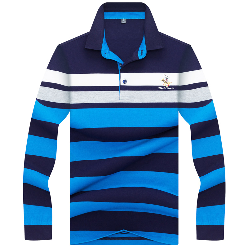 2019 New arrival Spring European Style Men   Polo   Shirt Tace & Shark Brand 3D Embroidery Striped Casual   Polo   Shirt Men Long Sleeve