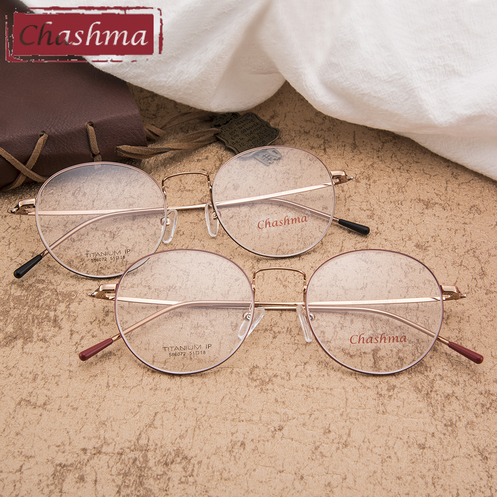 Chashma Telaio In Titanio Puro Lentes Opticos Top Quality Rotonda Retro Telai In Titanio Super Leggero 14 Grammi Degli Occhiali Da Donna