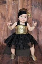 Noir et Or Paillettes Étincelle Tutu Ensemble, Étincelle Bébé Halter Robe, tenue D'anniversaire, d'anniversaire fille robe, sequin robe de bébé, tutu robe