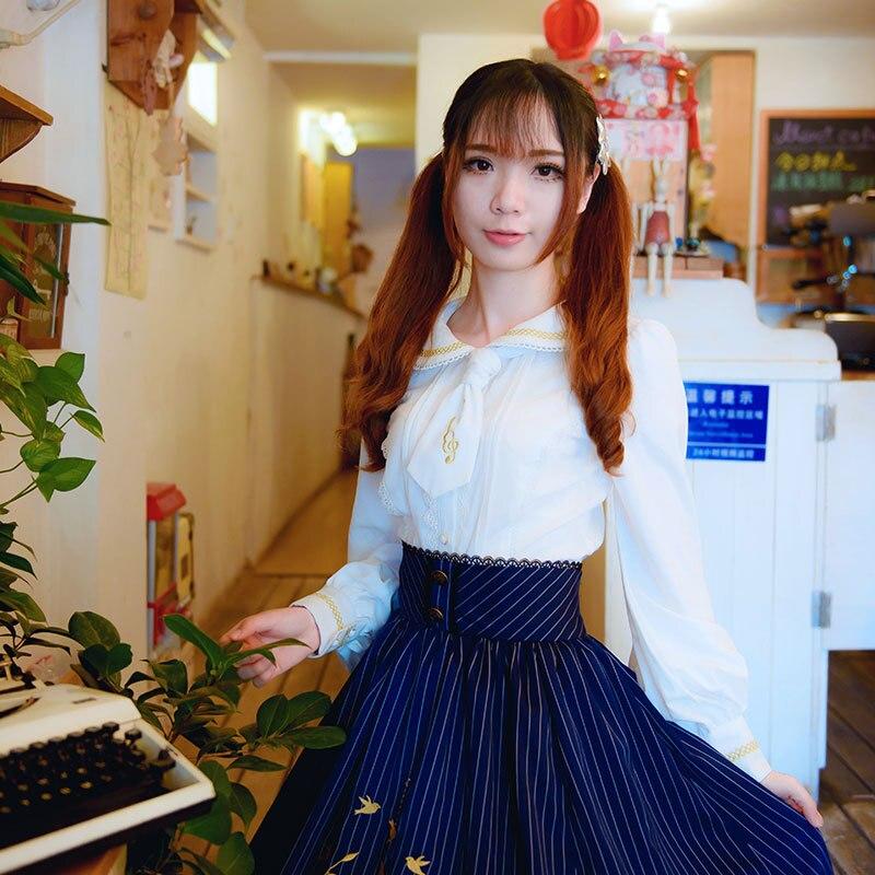 2019 Lolita Blouse Sweet White Long Sleeve Embroidered Women's Shirt - Women's Clothing - Photo 4