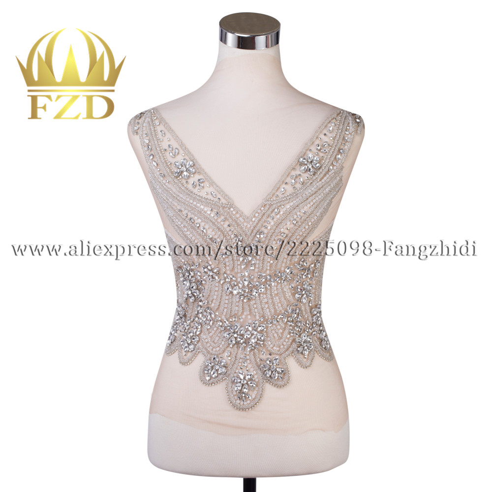 Nude Mesh Clear Crystal Stone V neck Patches white beads for Wedding Dresses DIY Decorative Clothes
