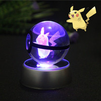 Elegent Crystal Pokemon Design Pikachu Ball Crytal Ball Size 50mmx50mm With Led Base For Gift