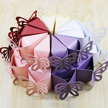 100Pieces Butterfly Favor Candy Box White Champagne Purple Red Gift Boxes Cake Style Wedding Party Baby Shower