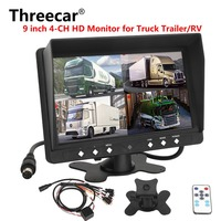 DC 12V/24V 9 Inch Car Parking Monitor With 4CH 4PIN HD Video input Monitors Car Quad Split Monitor For Truck Caravan Vans Camera