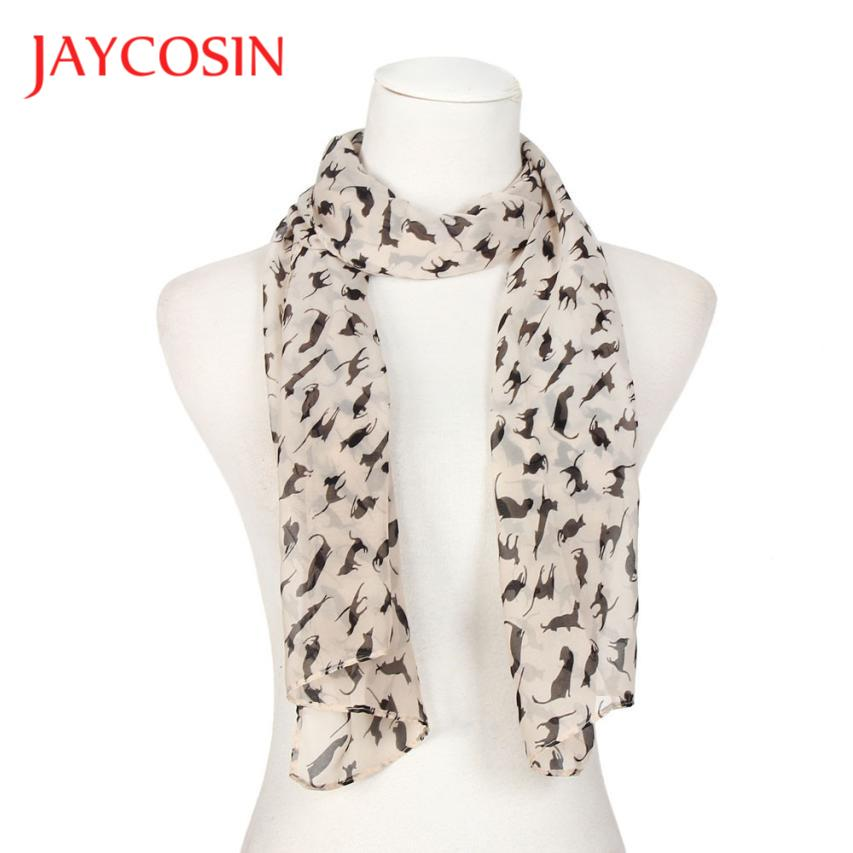 JAYCOSIN Scarves Newly Design 1pc Women Fashion Black Cat Chiffon Scarf 160905 Drop Shipping