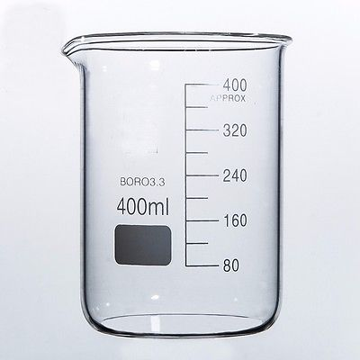 400ml Low Form Beaker Chemistry Laboratory Borosilicate Glass Transparent Beaker Thickened With Spout