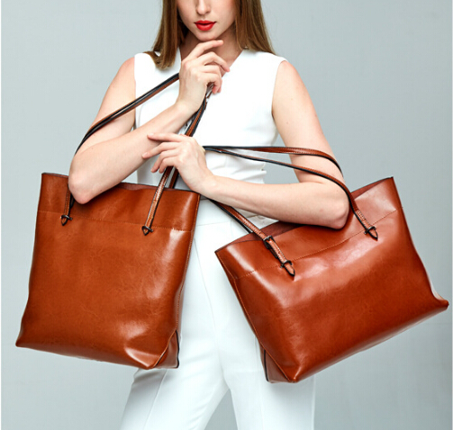 Female tote bag simple style genuine cow leather fashion  bag vintage messenger shoulder bag office lady large capacity d-89562