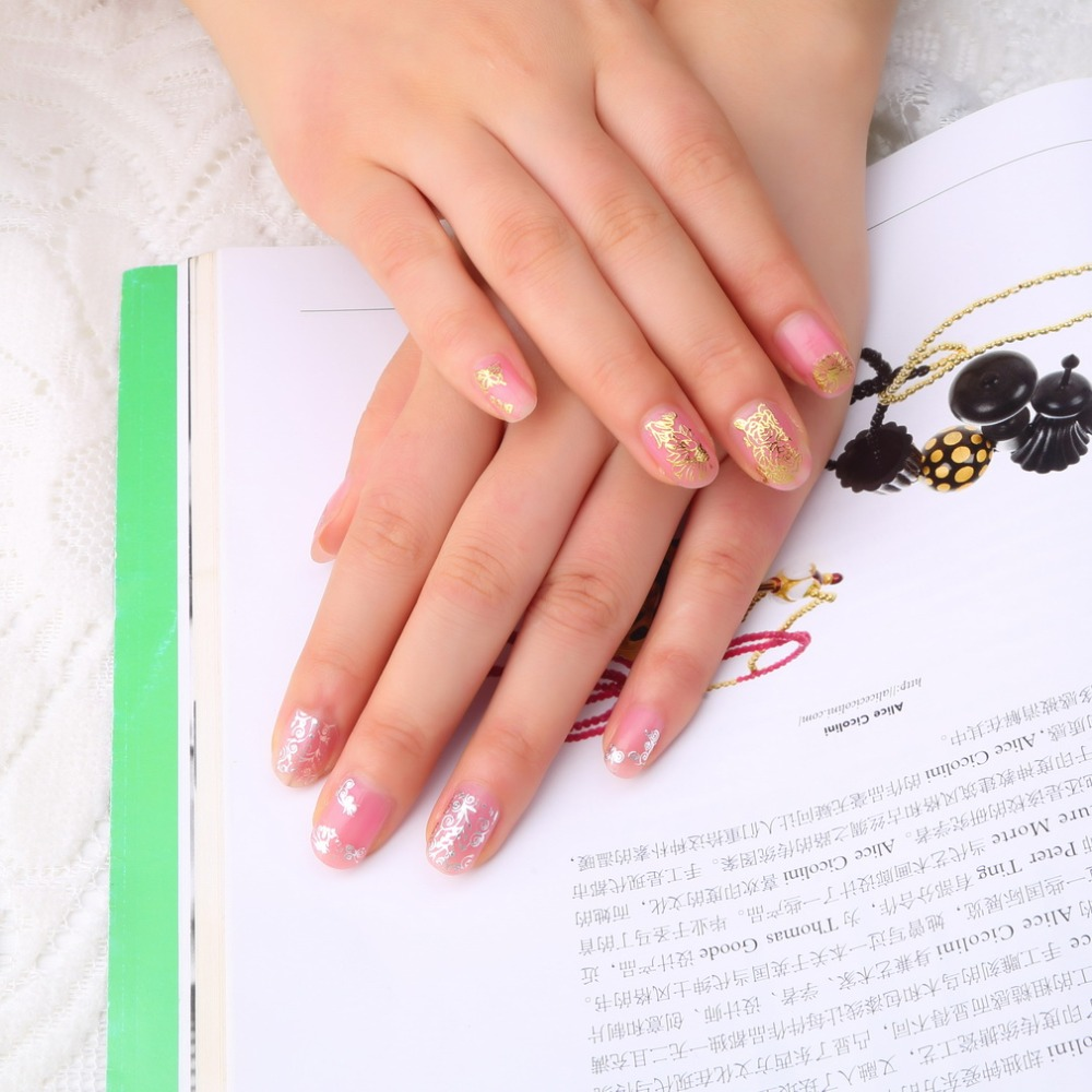 DIY Designer Water Transfer Art Sticker Gold/Silver TB001 Fantacy Flower Nail Stickers Manicure Decals Stamping Nail Art