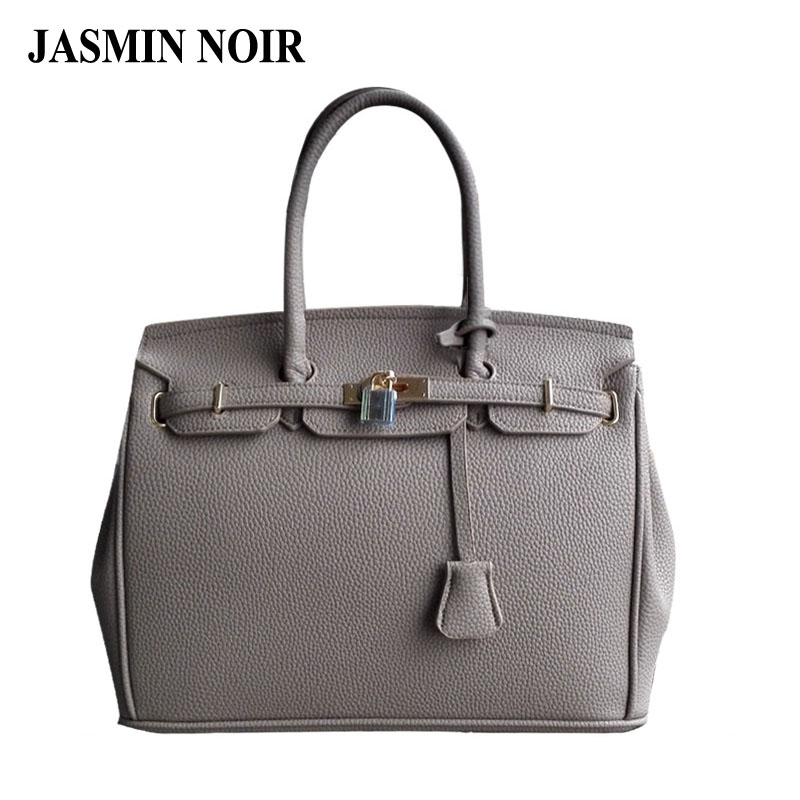ФОТО  designer PU leather handbag with gold lock scarf 30cm 35cm woman bags designers bolsas femininas