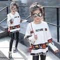Meninas Blusas Brancas Casuais Blusas de Malha Para Meninas Dos Desenhos Animados Padrão trajes Crianças Malhas Tops 4 6 8 10 11 12 anos