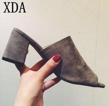 XDA 2019 Fashion Female Slippers Suede Sandals Summer Shoes Women Mules Ladies Flip Flops High Heeled sandals slipper