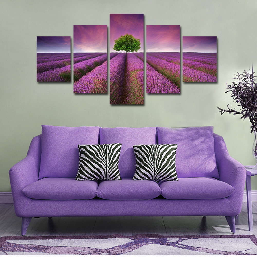 Unframed 5 panel HD Canvas Wall Art Giclee Violet And Tree Lightnin Landscape For Living Room Home Decor Unframed